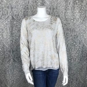 Lucky Brand Metallic Gold Floral Layered Top M